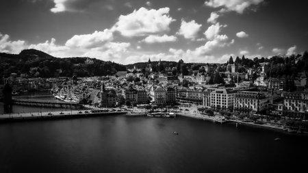 Lake Lucerne in Switzerland also called Vierwaldstaetter See in in black and white