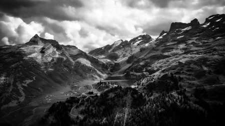 Landscape like a fairy tale - the Swiss Alps with its amazing na in black and white