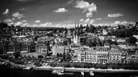 City of Lucerne in Switzerland on a sunny day - aerial view in black and white