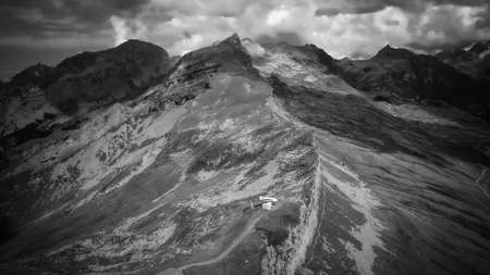 The Swiss Alps at Melchsee Frutt in black and white