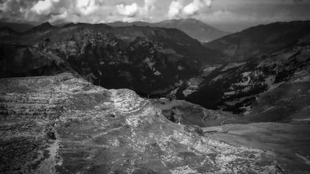 Flight over the wonderful nature of Switzerland - the Swiss Alps in black and white