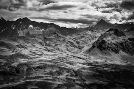 Amazing nature of Switzerland in the Swiss Alps in black and white