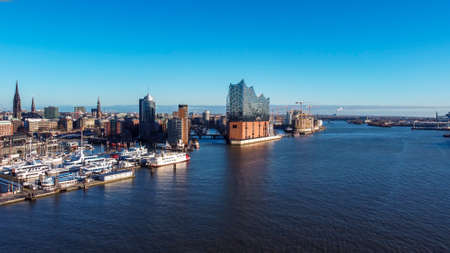 Hamburg harbour on a sunny day - aerial view
