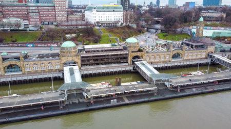 World famous St Pauli Landungsbrucken in the harbour of Hamburg - CITY OF HAMBURG, GERMANY - DECEMBER 25, 2020