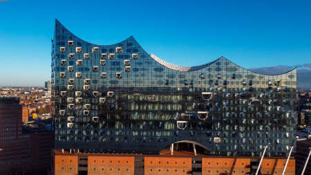 Most famous building in Hamburg - the Elbphilharmonie Concert Hall - CITY OF HAMBURG, GERMANY - DECEMBER 25, 2020