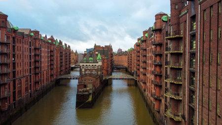Flight through the Warehouse district in Hamburg Germany called Speicherstadt