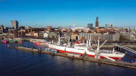 The district of Hamburg St. Pauli at the harbour - CITY OF HAMBURG, GERMANY - DECEMBER 25, 2020