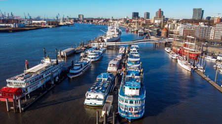 Port of Hamburg Germany from above - CITY OF HAMBURG, GERMANY - DECEMBER 25, 2020