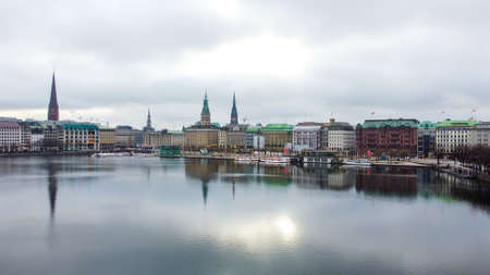The beautiful city center of Hamburg with Alster River - CITY OF HAMBURG, GERMANY - DECEMBER 25, 2020