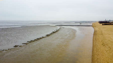 Amazing nature in Germany - the wadden sea on a misty day 版權商用圖片