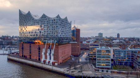 Famous Hamburg Concert Hall Elbphilharmonie in the harbour - CITY OF HAMBURG, GERMANY - DECEMBER 25, 2020