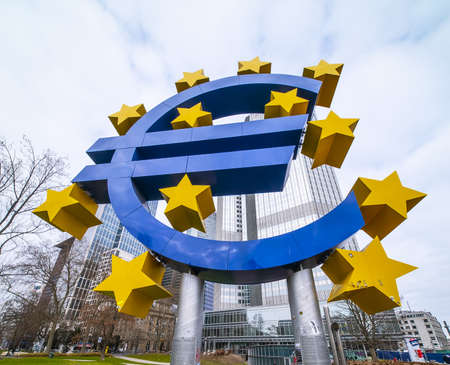 Giant Euro Symbol at Willy Brandt Square in Frankfurt Stock Photo