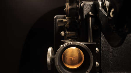 Old film projector in close up view
