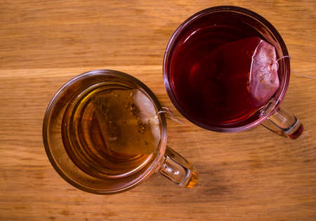Hot brewed tea Top down view Standard-Bild