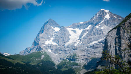 The impressive mountains and glaciers in the Swiss Alps