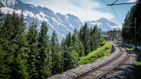 Railway tracks in the Swiss Alps