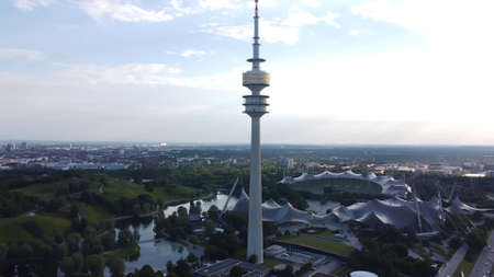 TV Tower at Olympic Park Munich - Aerial view - MUNICH, GERMANY - JUNE 03, 2021 Editorial