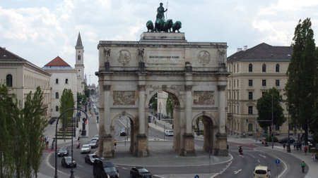 Victory Gate in Munich at Ludwig street - aerial view - MUNICH, GERMANY - JUNE 03, 2021