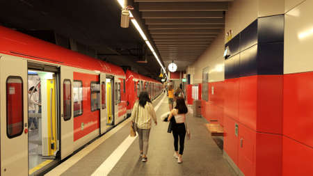 Munich subway station in the city center - MUNICH, GERMANY - JUNE 03, 2021