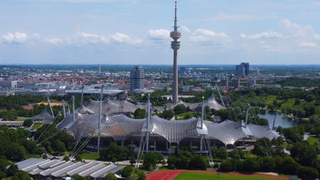 City of Munich Germany from above - typical aerial view - MUNICH, GERMANY - JUNE 03, 2021
