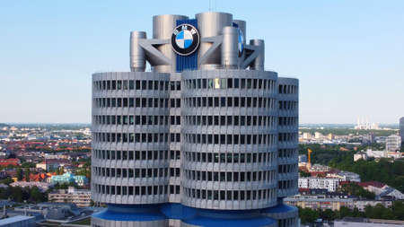 BMW Headquarter in Munich - aerial view - MUNICH, GERMANY - JUNE 03, 2021