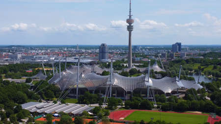 Olympic Stadium at Munich Olympic Park - aerial view