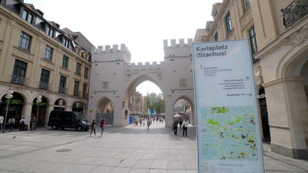 Karls gate in the histroic district of Munich - MUNICH, GERMANY - JUNE 03, 2021