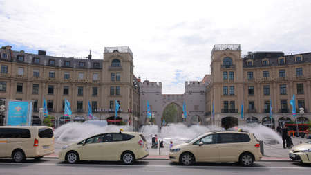Karls Square also called Stachus in the city of Munich - MUNICH, GERMANY - JUNE 03, 2021