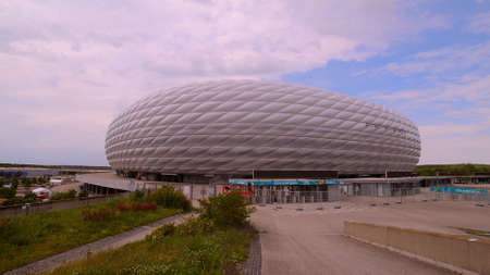Famous Allianz Arena stadium in Munich - Home of famous soccer club FC Bayern Muenchen - MUNICH, GERMANY - JUNE 03, 2021 Editorial