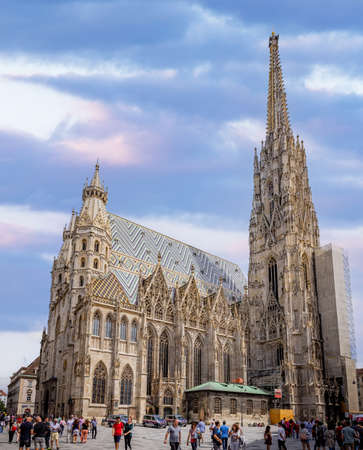 Cathedral St Stephan in Vienna called Stephansdom in the city center - VIENNA, AUSTRIA, EUROPE - AUGUST 1, 2021