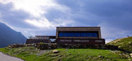 Timmelsjoch Tavern in the Austrian Alps also called Passo Rombo - TIMMELSJOCH, AUSTRIA, EUROPE - JULY 28, 2021