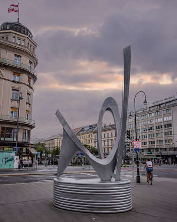 Sculpture at Karajan Square in the city of Vienna - VIENNA, AUSTRIA, EUROPE - AUGUST 1, 2021 Editorial