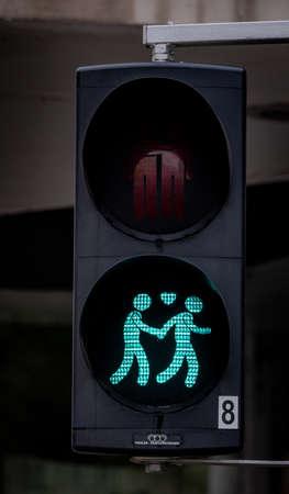 Traffic light symbols in the city of Vienna - VIENNA, AUSTRIA, EUROPE - AUGUST 1, 2021 Editorial