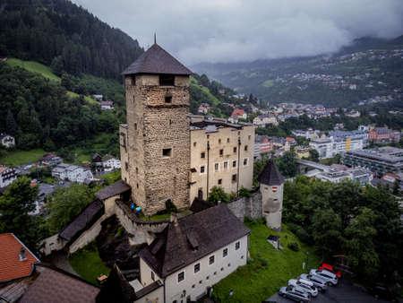 Landeck Castle in the Tyrolean village of Landeck in Austria - ISCHGL, AUSTRIA, EUROPE - AUGUST 5, 2021