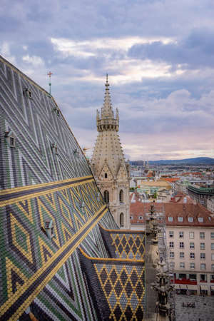 View over the city of Vienna from the top of St Stephans Cathedral - VIENNA, AUSTRIA, EUROPE - AUGUST 1, 2021