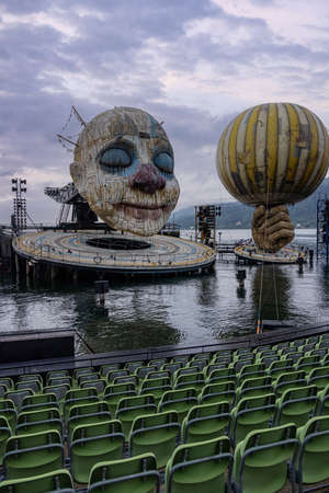 The Rigoletto floating stage on Lake Constance at Bregenz Performing Arts Festival - BREGENZ, AUSTRIA, EUROPE - JULY 28, 2021