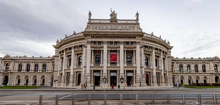 Famous Burgtheater of Vienna - the National Theater in the city - VIENNA, AUSTRIA, EUROPE - AUGUST 1, 2021 Editorial