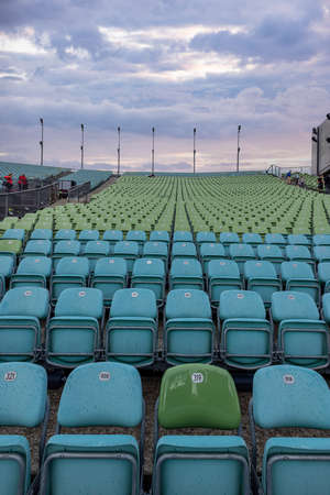 Audience seats at Bregenz Performing Arts Festival on Lake Constance - BREGENZ, AUSTRIA, EUROPE - JULY 28, 2021