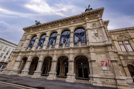 Vienna State Opera building in the city center - VIENNA, AUSTRIA, EUROPE - AUGUST 1, 2021
