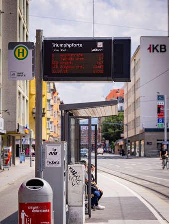 Bus stop - public transport in the city of Innsbruck - INNSBRUCK, AUSTRIA, EUROPE - JULY 29, 2021