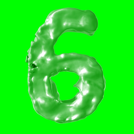 number 6 green milk on hroma key Stock Photo