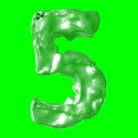 number 5 green milk on hroma key Stock Photo