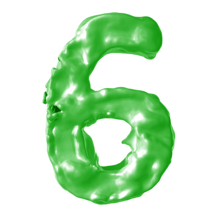 number 6 green milk on white background