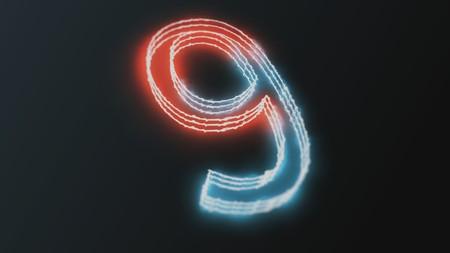 neon glowing figures 3d render number nine