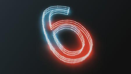 seconds: neon glowing figures 3d render number six Stock Photo