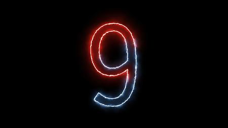 number nine: Neon 3d number nine on black background