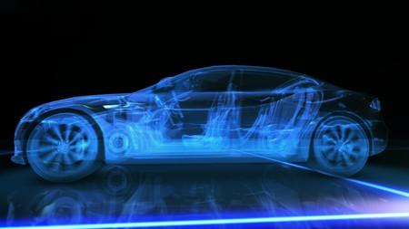 Abstract blue 3D auto su sfondo nero Archivio Fotografico