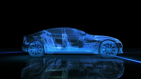 Abstract blue 3D auto su sfondo nero