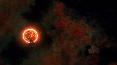 scorching: scorching sun and the galaxy with bursts 3D visualization