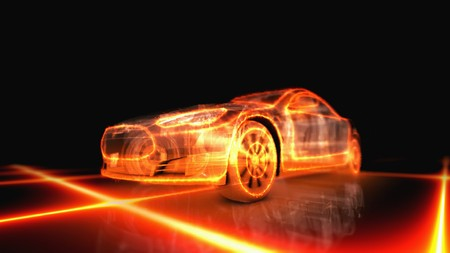 Abstract 3d fiery appearance of the car on black background